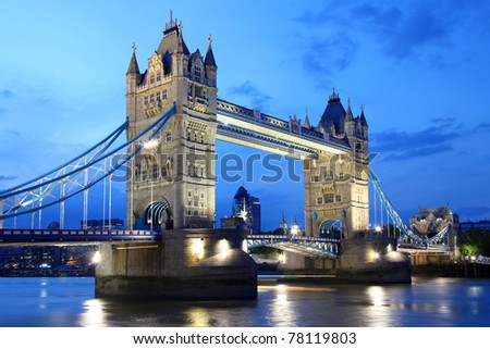 Famous Tower Bridge, London, UK - stock photo
