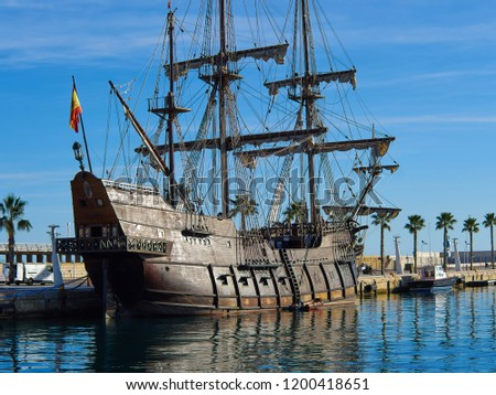 Famous traditional Spanish Galleon 16-18th. Century historical armada ship  Alicante Costa Blanca Spain Foto stock ©