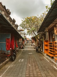 Famous Traditional Ubud Market in Bali is Empty, Because of the Effect of Coronavirus. Problem With the Tourists After Covid-19. Empty Bali, Indonesia.