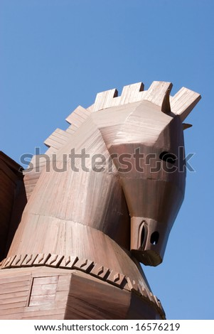 Famous Trojan horse in ancient city of Troy