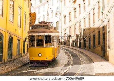 Famous Trolly Carriage on Street in Lisbon Portugal Historic Transportation Attraction
