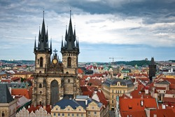 Famous Tyn Cathedral on Old Town square in Prague, Czech Republic