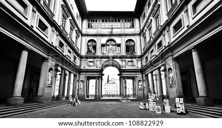 Famous Uffizi Gallery in Florence, Italy in black and white