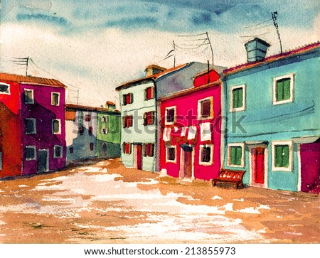 Watercolor Color Colored Houses Watercolor