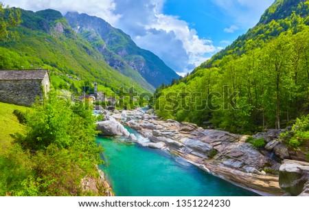 Photo of  Famous verzasca river near Lavertezzo in Switzerland.