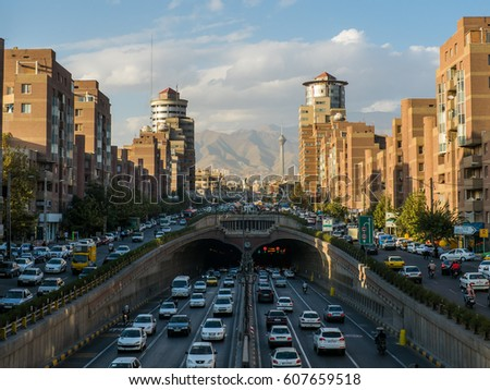 Famous view in Tehran, Iran. In front of the Towhid tunnel in the city center. I Stock fotó ©