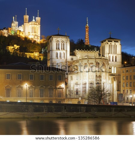 Famous view of Lyon over the Saone river at night