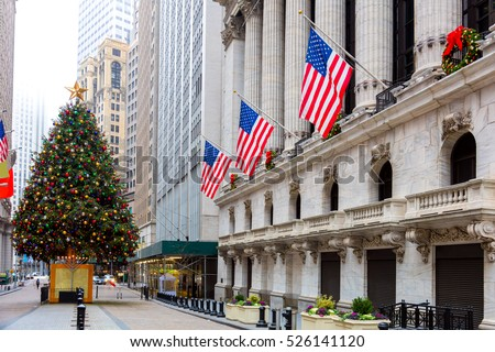 Famous Wall Street in New York City, Christmas time and decoration, NYC, USA