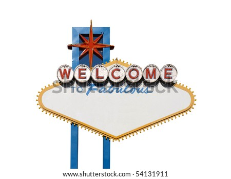 Famous Welcome to Las Vegas sign with text blanked out.