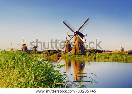 Famous windmill park Kinderdijk in Holland