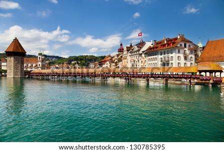 Famous wooden Chapel Bridge in Luzern, Switzerland
