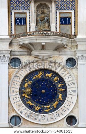 Famous Zodiac clock on St Mark's Clocktower, Venice