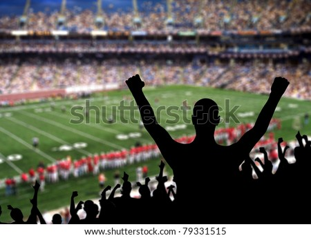 Fan celebrating a victory at a American football game.