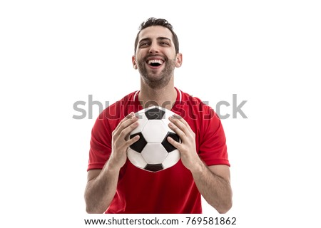 fan celebrating on white background - Shutterstock ID 769581862