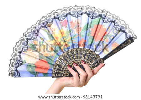 Fan in a woman hand on a white background