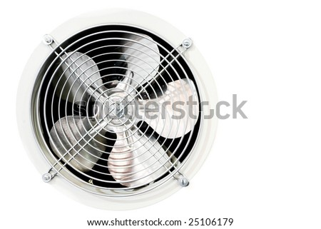 Fan in refrigerator on white