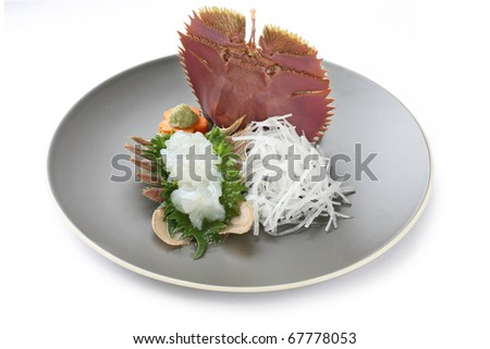 fan lobster sashimi , japanese food
