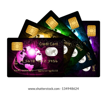 fan of credit cards isolated over white background