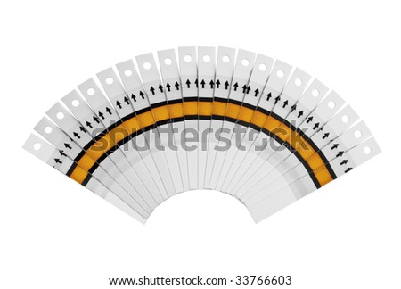Fan of the test strips on a white background