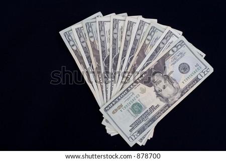 fan of twenty dollar bills