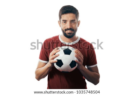 Fan or sport player on red uniform celebrating on white background - Shutterstock ID 1035748504