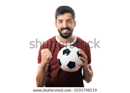 Fan or sport player on red uniform celebrating on white background #1035748519