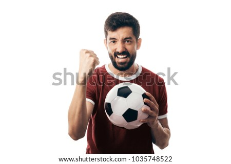 Fan or sport player on red uniform celebrating on white background #1035748522