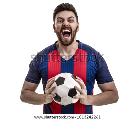 Fan / Sport Player on blue and red uniform celebrating on white background - Shutterstock ID 1013242261