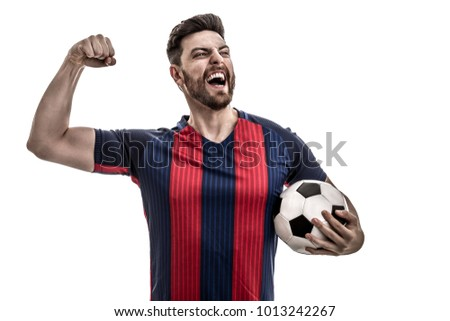 Fan / Sport Player on blue and red uniform celebrating on white background #1013242267