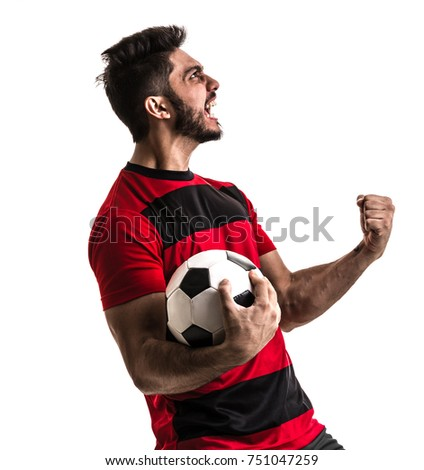 Fan / Sport Player on red and black uniform celebrating on white background #751047259