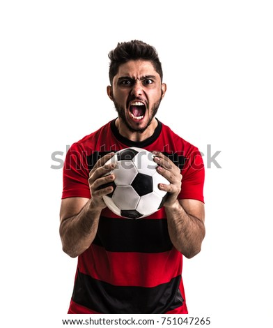 Fan / Sport Player on red and black uniform celebrating on white background - Shutterstock ID 751047265