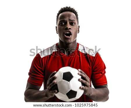 Fan / Sport Player on red uniform celebrating on white background - Shutterstock ID 1025975845