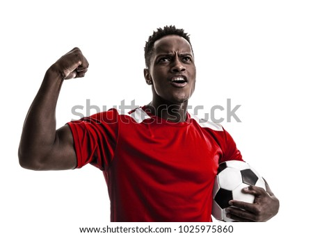 Fan / Sport Player on red uniform celebrating on white background #1025975860