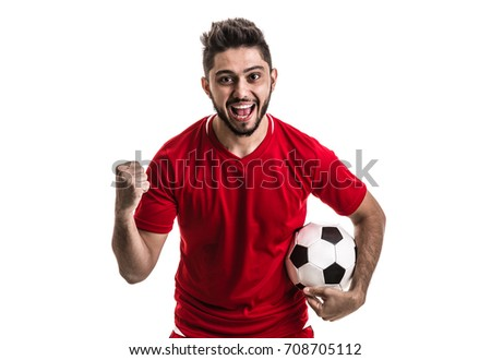 Fan / Sport Player on red uniform celebrating on white background #708705112