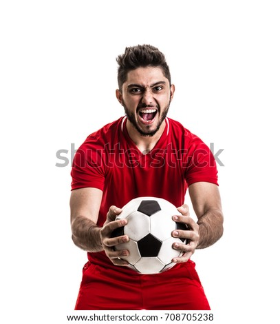 Fan / Sport Player on red uniform celebrating on white background - Shutterstock ID 708705238