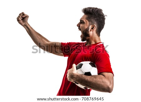 Fan / Sport Player on red uniform celebrating on white background #708769645