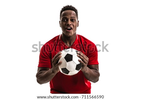 Fan / Sport Player on red uniform celebrating on white background - Shutterstock ID 711566590
