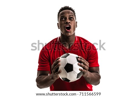 Fan / Sport Player on red uniform celebrating on white background - Shutterstock ID 711566599