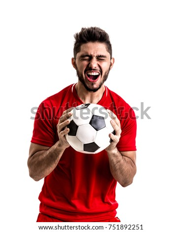 Fan / Sport Player on red uniform celebrating on white background - Shutterstock ID 751892251