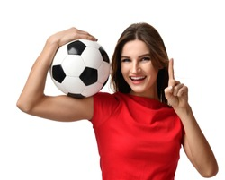 Fan sport woman in red tshirt hold soccer ball celebrating point one finger up winner sign free text copy space isolated on white background