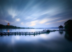 Fancy and beautiful landscape in West Lake, Hangzhou.
