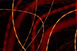 Fancy background - colored luminous irregular lines. Graphic background with neon luminous elements.