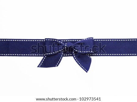 Fancy blue ribbon gift bow with white stitching on white background