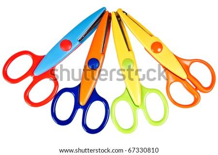 fancy colourful scissors on the white background