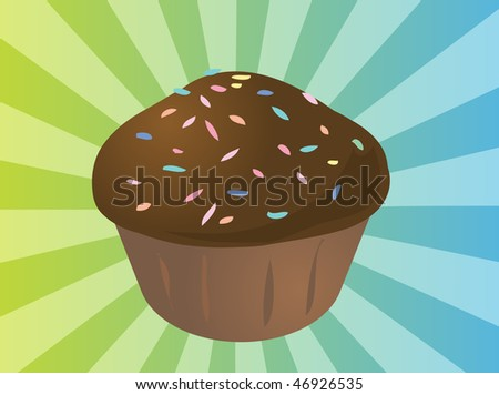 stock photo : Fancy decorated cupcake muffin illustration clip art