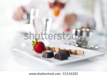 fancy dessert at the restaurant