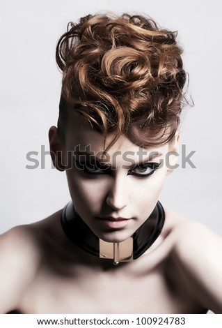 Fancy Dress Party - Fashion Festive Woman face. Bright Hairstyle - Poster. Looks like a Punk - Creativity