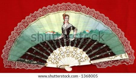 Fancy Fan - hand-painted on cotton fabric