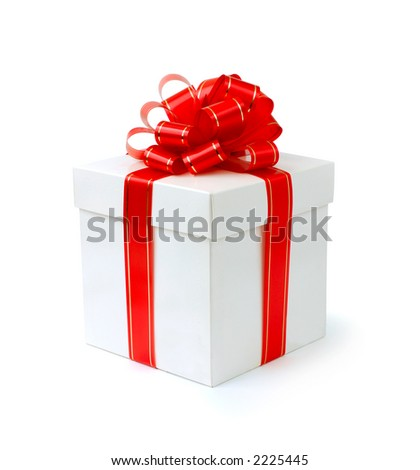 Fancy gift-box with red ribbon isolated with clipping path on white background