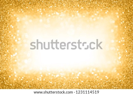 Fancy glam gold glitter sparkle confetti background for golden happy birthday party invite, 50th wedding anniversary champaign border, golden Christmas winner or New Year's Eve champagne bubbles frame